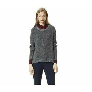 Theory Clancia Girella Sweater Gray Wool Crew Neck
